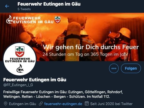 Twitter-Profil der Feuerwehr Eutingen im Gäu