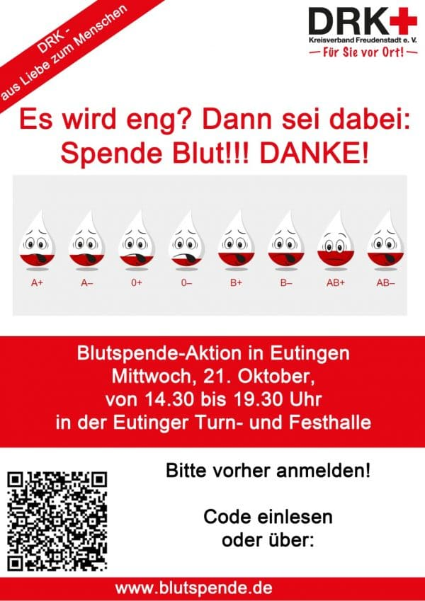 Blutspende am 21.10.2020 in Eutingen